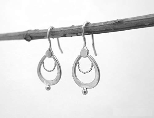Sterling Silver boho Indian Drop Earrings, Delicate Ethnic Teardrop earrings, Handmade Artisan Everyday Jewelry