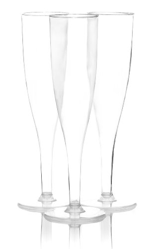 Party Essentials Hard Plastic 1-Piece Champagne Flute, 5-Ounce Capacity, Clear (Case of 60)