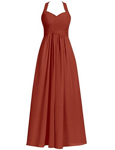 Halter Bridesmaid Dresses Long Prom Dress Chiffon Evening Formal Gowns Pleats Maxi Rust_Red US 6