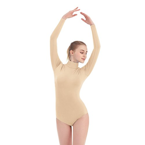 SUPRNOWA Women's Turtleneck Lycra Spandex Long Sleeve Leotard (X-Large, Nude) -
