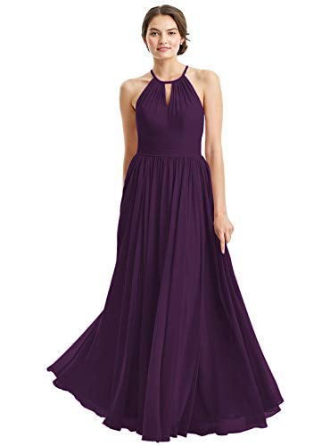 - Women's Halter Chiffon A-Line Long Wedding Party Dresses Sleeveless Floor Length Hollow Bridesmaid Gowns Size 12 Plum