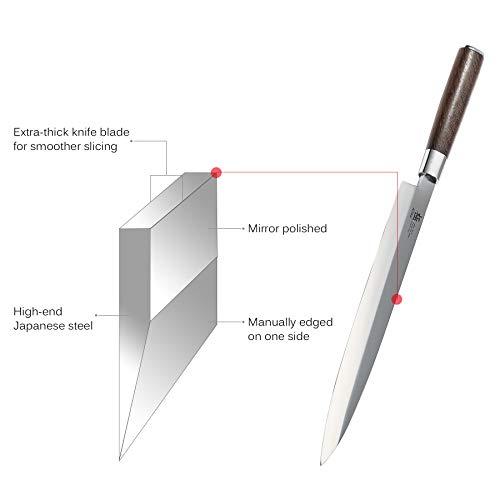 KYOKU Samurai Series - 10.5'' Yanagiba Knife Japanese Sushi Sashimi Knives - Superior Japanese Steel - Wenge Wood Handle - with Sheath & Case by KYOKU (Image #4)