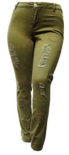 Jack David/GAZOZ Womens Plus Size Stretch Distressed Ripped Blue Skinny Denim Jeans Pants (14, Ashley Stewart Olive) ()