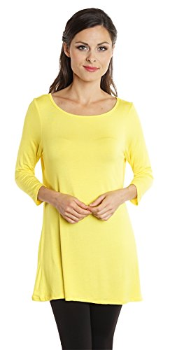 Free to Live Women's Long Flowy Elbow Sleeve Jersey Tunic Made in USA (Large, Yellow)