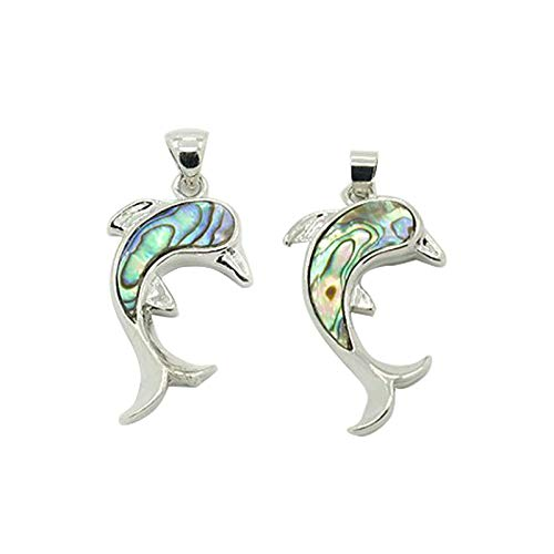 (PandaHall 1pcs Dolphin Abalone Shell Pendants with Platinum Brass Findings Seashell Charms for Jewelry Making and)