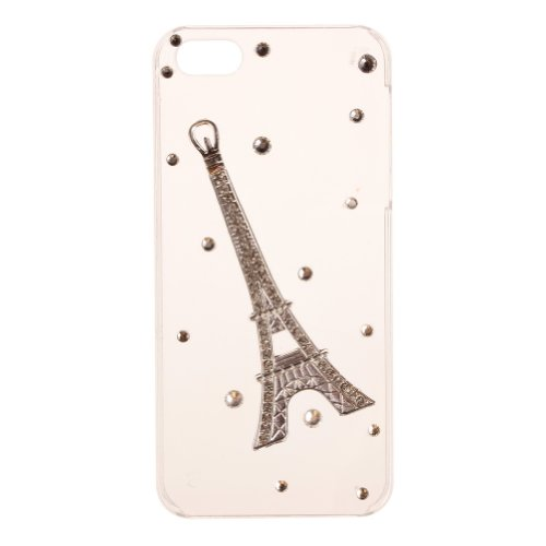 (Bling Paris Eiffel Tower Rhinestone Diamond Transparent Clear Hard Back Case Cover for iPhone 5 5S)
