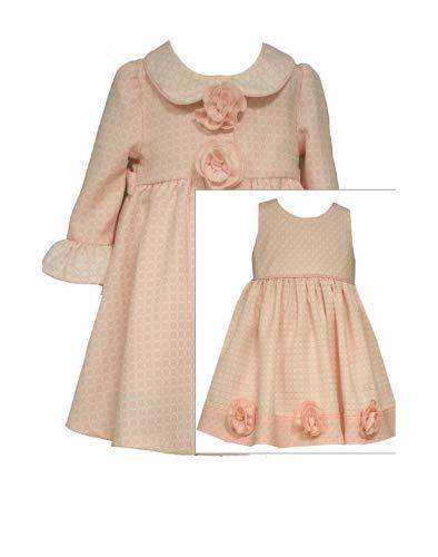 Baby Girls Bell Sleeve Rosette Jacquard Dress/Coat Set, Bonnie Baby, Pink, 18M (Coat Jacquard Dress)