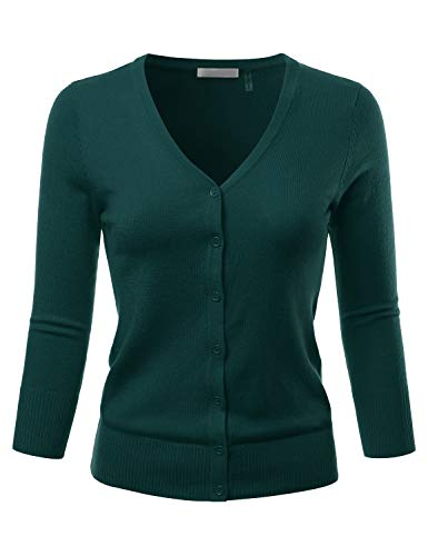 EIMIN Women's 3/4 Sleeve V-Neck Button Down Stretch Knit Cardigan Sweater Peacock - Womens Peacock V-neck