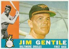1960 Topps Regular (Baseball) Card# 448 jim gentile of the Baltimore Orioles VGX Condition
