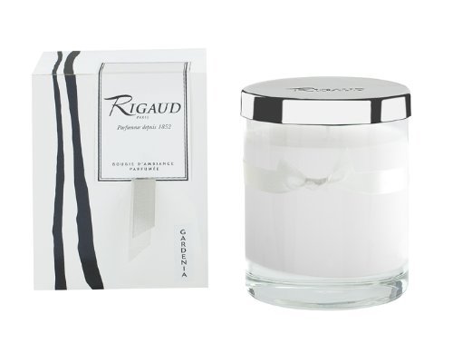 Rigaud Paris, Gardenia, Bougie D'ambiance Parfumee, Medium Candle Modele Complet with Metal Snuffer Lid, White, 5.6 Oz, 60 Hour Burn Life