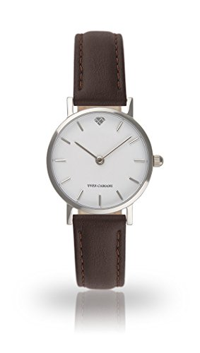 YVES CAMANI Léa Women's Wrist Watch Quartz Analog Brown Leather Strap White Dial YC1098-A-708