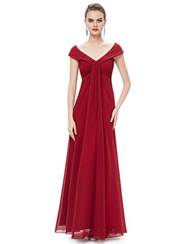 Ever Pretty Womens Ruched Bust Long Chiffon Formal Bridesmaids Dress 6 US Red