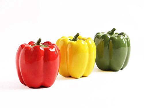 (Longpro Ceramic Tea Canister Set Lightweight Bell Pepper Shaped 3 Colors Set of 3)