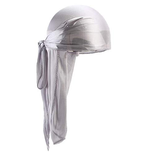 Fxhixiy Men Women Durag Extra Long-Tail Headwraps Silky Satin Pirate Cap Bandana Hat for 360 Waves (Silver)