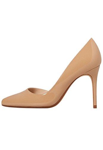 MANGO Women's Patent Leather Heel Shoes, Nude, 9