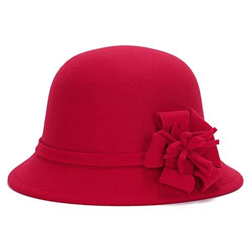 XUBA Woman Autumn Winter Cap British Artificial Woolen Hat Retro Lady Floral Felt Hat