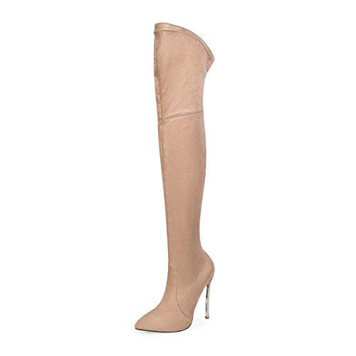 Dormery New Autumn Winter Women Boots Stretch Slim Thigh High Boots Fashion Over The Knee Boots High Heels Shoes Woman sapatos Beige 7.5