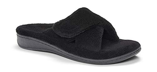 ORTHAHEEL Women's Relax Slipper, Black Terry, 8.0 M - Fully Padded Insole