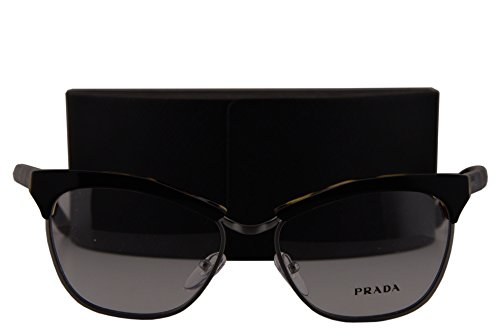 Prada Journal PR14SV Eyeglasses 55-16-140 Top Black Medium Havana NAI1O1 VPR14S For Women
