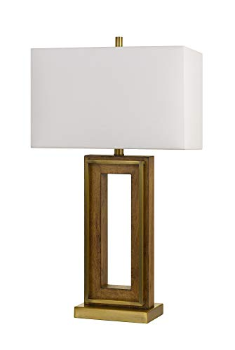 Cal Lighting BO-2837TB 150W 3 Way Couvin Pine Metal Table lamp, Antique Brass/Wood