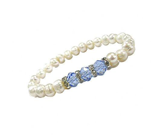 Linpeng Round White Freshwater Cultured Pearls- Birthstone Color Crystal Beads - Rhinestone Spacers - Stretch Bracelet for Women, Blue
