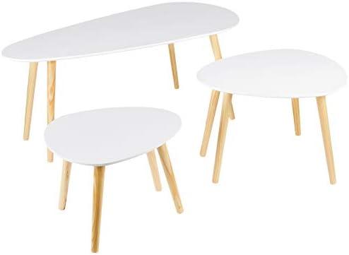 Dolmen - Juego de 3 mesas Bajas, diseño escandinavo, Color Blanco: Amazon.es: Juguetes y juegos