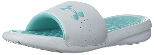 Price comparison product image Under Armour Girls' Playmaker Fixed Strap Slide Sandal, Tropical Tide (300)/Refresh Mint, 2