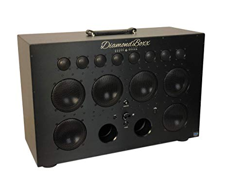DiamondBoxx Model XL2 Black 462 - The Biggest Bass in Wireless Audio Portable Bluetooth Speaker Loud Clear with 1000 Watts Output, 20 Hours per Charge, 12 amplifiers for 0 Distortion and 4 subwoofers