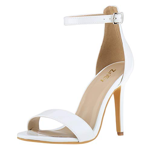 ZriEy Women's Heeled Sandals Ankle Strap High Heels 10CM Open Toe Bridal Party Shoes White Size 5