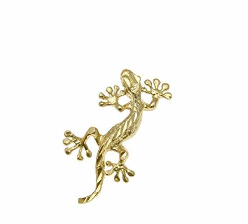 14k Solid yellow gold Hawaiian gecko lizard diamond cut charm pendant
