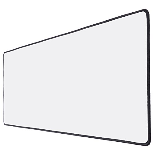 XYK White Gaming Mouse Pad Large Size (800x300x3mm) Extended Gamer Mouse Mat with Non-Slip Rubber Base, Special-Textured Surface, Support for Computer, PC and Laptop - White