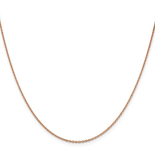 14k Rose Gold 1.4mm Link Cable Chain Necklace 18 Inch Pendant Charm Round Fine Jewelry Gifts For Women For Her