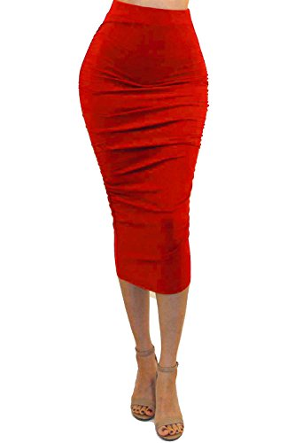 Vivicastle Women's Ruched Frill Ruffle High Waist Pencil Mid-Calf Skirt (1red, red, -