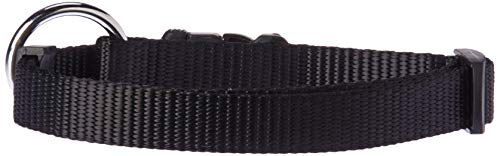 Dogit Nylon Adjustable Single Ply Dog Collar with Plastic Snap, Medium, 5/8-Inch, Black