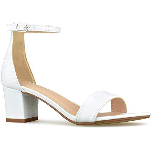 (Bella Marie Women's Strappy Open Toe Block Heel Sandal, White Patent, Size 10)