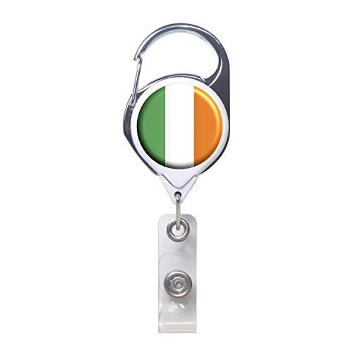 Officially Needed-Ireland Country ID Badge Holder, White Retractable Carabiner Clip | Great Office Supplies or Holding Keys | Gifts for Women, Teachers, Nurses, Professionals, Government, New Hires (Irish Retractable Badge Holder)