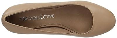 206 Collective Women's Merritt Round Toe Block Heel Low Pump, Neutral Leather, 9 B US