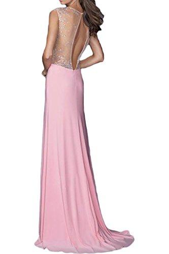 V Abendkleid Schlitz Ausschnitt Damen Ivydressing Schleppe Steine Partykleid Promkleid Festkleid Fashion Rosa FqIn4Ev