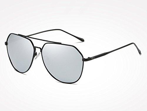 Mujeres Gafas Hombres Masculinos Gafas polarizadas Sol piloto black de para Negro de Gafas TL Sunglasses silver de Hombres Revestimiento Sol Plata de Espejo UqgAA5