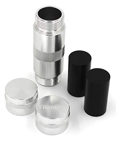 Stash Safe, Spice Press Tool Tough Aluminum CNC 5 Piece 3.5 inch 2 Dowels, Portable Ashtray (Silver)
