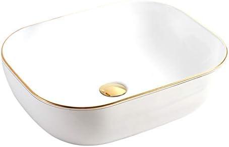 BoPin バスルームの洗面台、ホームシンクセラミック(タップ無し)カウンタ上流域技術バニティ単一流域、利用可能な2つのサイズ ベッセルシンクシンク (Size : 50X40X15.5cm)
