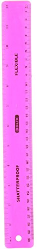 "BAZIC 12"" (30cm) Shatterproof Flexible Ruler Assorted Colors"