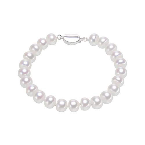 (MoniPearl Bracelets Pearl Set for Women, AAA Quality Round Beads Bangle, White Freshwater Cultured Pearl Strand Bracelets (7))
