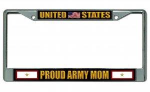 Army Mom Chrome License Plate Frame (Army Mom License Plate Frame)