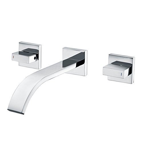SUMERAIN Two Handle Wall-Mount Lavatory Faucet Brass Chrome Bathroom Sink (Handle Wall Mount Lavatory Faucet)