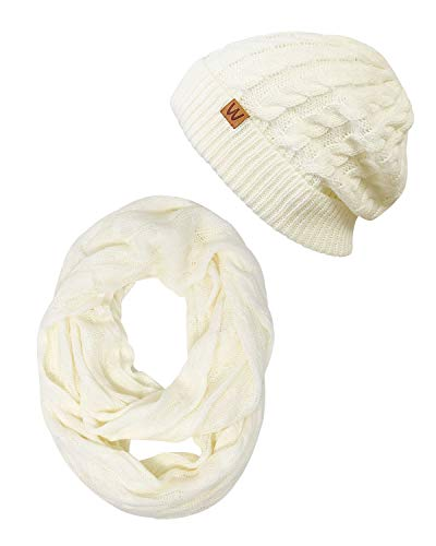 Wrapables Winter Warm Cable Knit Infinity Scarf and Beanie Set, Cream