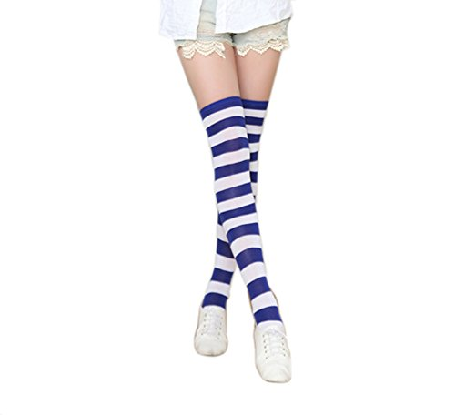 Womens Lolita Cosplay Sailor Striped Thigh High Over Knee Stocking Socks YSW02D (Sailor Blue Wide (Sexy Striped Sailor Costume)