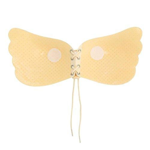 Tefamore Mujer encaje atractivo pegar en el pecho invisible--sujetador adhesivo de silicona,sin tirantes, invisible, push up, sin espalda Caqui