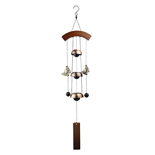 Wind Chime Bedroom Hanging Living Room Doorbell Wrought Iron Antique Copper Big Birthday Gift Pendant (Color : Brass, Size : 6514cm)