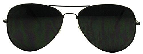 Sunglass Stop - Dark Black Limo Tint Top Gun Pilot Aviator Sunglasses (Black, - Aviator Pitch Sunglasses Black